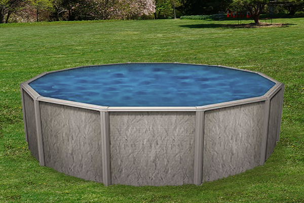 southport round above ground pool in a backyard